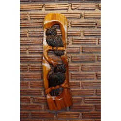 Teak Wall Hanging - Owls Perched