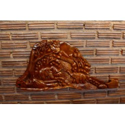 Teak Wall Hanging - Forest Elephants in The Mountain Water