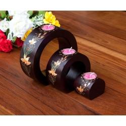 Full Moon Flang Flower Mango Wood Nesting Candle Holder