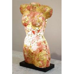 Brown Woman Torso Mosaic Glass Lamp