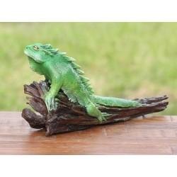 Teak Green Iguana Sculpture - 1 - 9 Inch