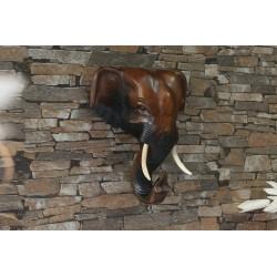 8 Inch Wooden Elephant Head Wall Sculpture