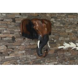 12 Inch Wooden Elephant Head Wall Sculpture