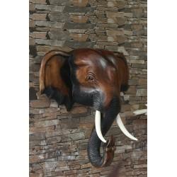 16 Inch Wooden Elephant Head Wall Sculpture