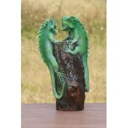 Teak Green Iguana Duo Sculpture - 2 - 10 Inch