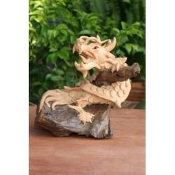 Paint Your Own Teak Dragon Sculpture - 2