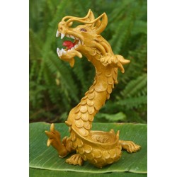 Coiled Stance 10 Inch Gold Dragon Sculpture