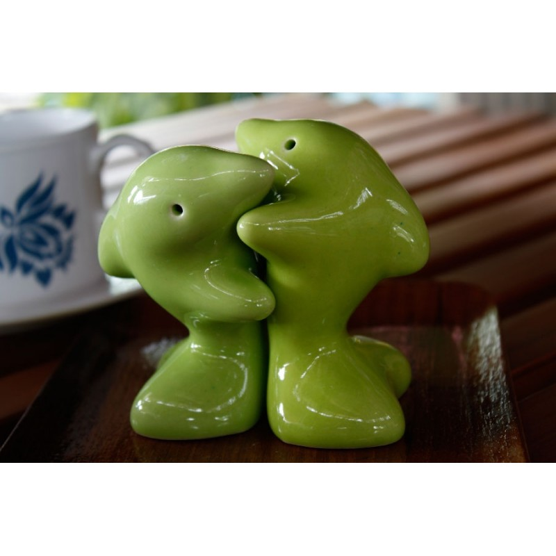 Dolphins hugging green salt and pepper shakers redwing - Hugging salt and pepper shakers ...