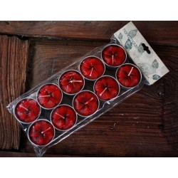 Red Flower Tea Light Candles (set of 30)