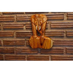 Teak Wall Hanging - Standing Still Marching Elephant