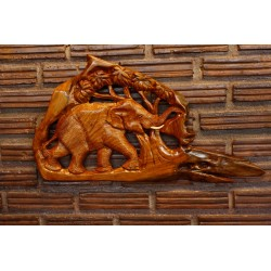 Teak Wall Hanging - Happily Wondering Elephant