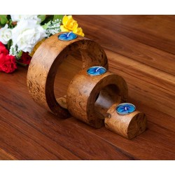 Full Moon Fluted Nam Tan Mango Wood Nesting Candle Holder