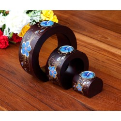 Full Moon Blue Petal Flower Mango Wood Nesting Candle Holder