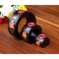 Full Moon Lined Petal Flower Mango Wood Nesting Candle Holder