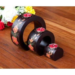 Full Moon Red Petal Flower Mango Wood Nesting Candle Holder
