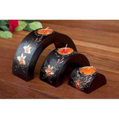 Half Moon Flang Flower Mango Wood Nesting Candle Holder