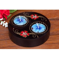 Yin & Yang Red Peddle Mango Wood Candle Holder