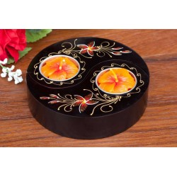 Yin & Yang Wild Fire Red Bloomed Mango Wood Candle Holder