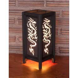 5x11 White Tattoo Dragon Handmade Lamp