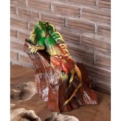 Teak Basking Iguanas Sculpture