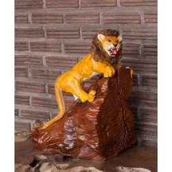 Teak Roaring Lion Sculpture