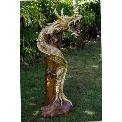 One Meter Dragon Golden Teak Dragon Statue Sculpture