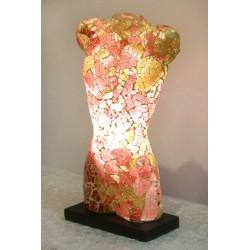 Brown Man Torso Mosaic Glass Lamp