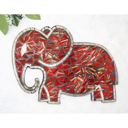 Fire Mosaic Glass 30cm Elephant Wall Hanging