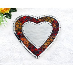 Autumn Leaves Mosaic Glass Heart Mirror
