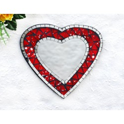 Falling Snow Mosaic Glass Heart Mirror