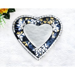 Black with Snowflakes Mosaic Glass Heart Mirror