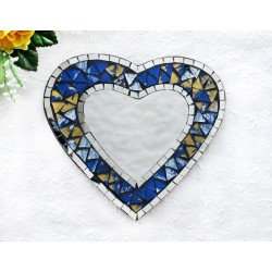 Blue and Gold Mosaic Glass Heart Mirror