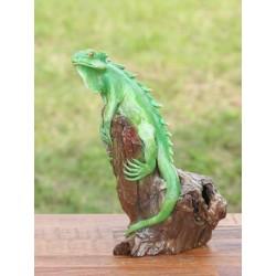 Teak Green Iguana Sculpture - 1 - 10 Inch