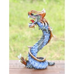 Coiled Stance 10 Inch Blue Dragon Sculpture