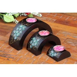 Half Moon Blue Jungle Flower Mango Wood Nesting Candle Holder