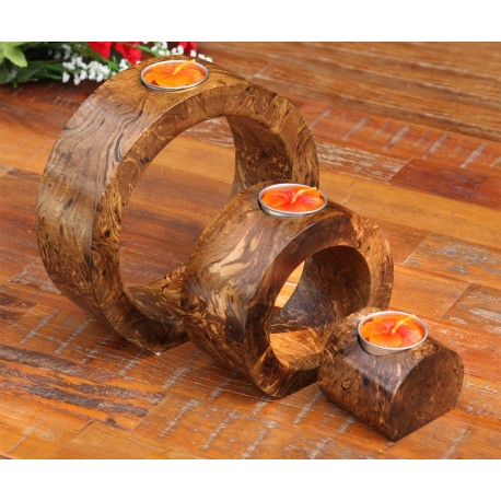 Full Moon Fluted Nam Tan Dark Mango Wood Nesting Candle Holder