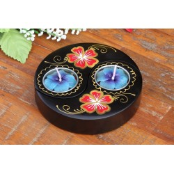 Yin & Yang Red Rose Petal Mango Wood Candle Holder