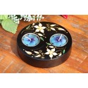 Yin & Yang White Petal Flower Mango Wood Candle Holder
