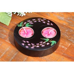 Yin & Yang Pink Paduak Mango Wood Candle Holder