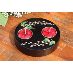Yin & Yang White Paduak Mango Wood Candle Holder