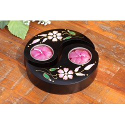 Yin & Yang Pink Peddle Mango Wood Candle Holder