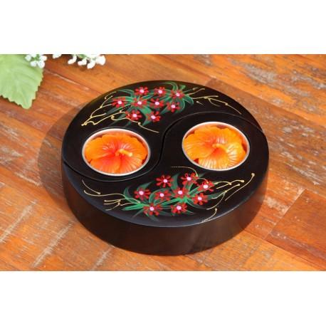 Yin & Yang Red Floating Vine Flower Mango Wood Candle Holder