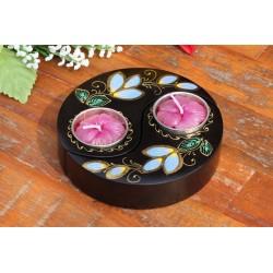 Yin & Yang Blue Water Lilly Mango Wood Candle Holder