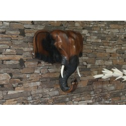 12 Inch Wooden Elephant Head Wall Sculpture