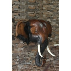 16 Inch Wooden Elephant Head Wall Sculpture