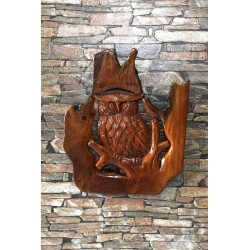 Teak Carved Barn Owl