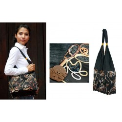 Dark flower shoulder bag