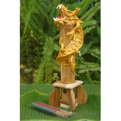 Bamboo Golden Dragon Incense Holder