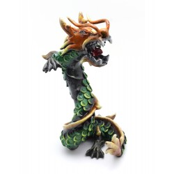 Coiled Stance 10 Inch Green Dragon Sculpture