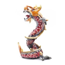 Coiled Stance 10 Inch Red Dragon Sculpture